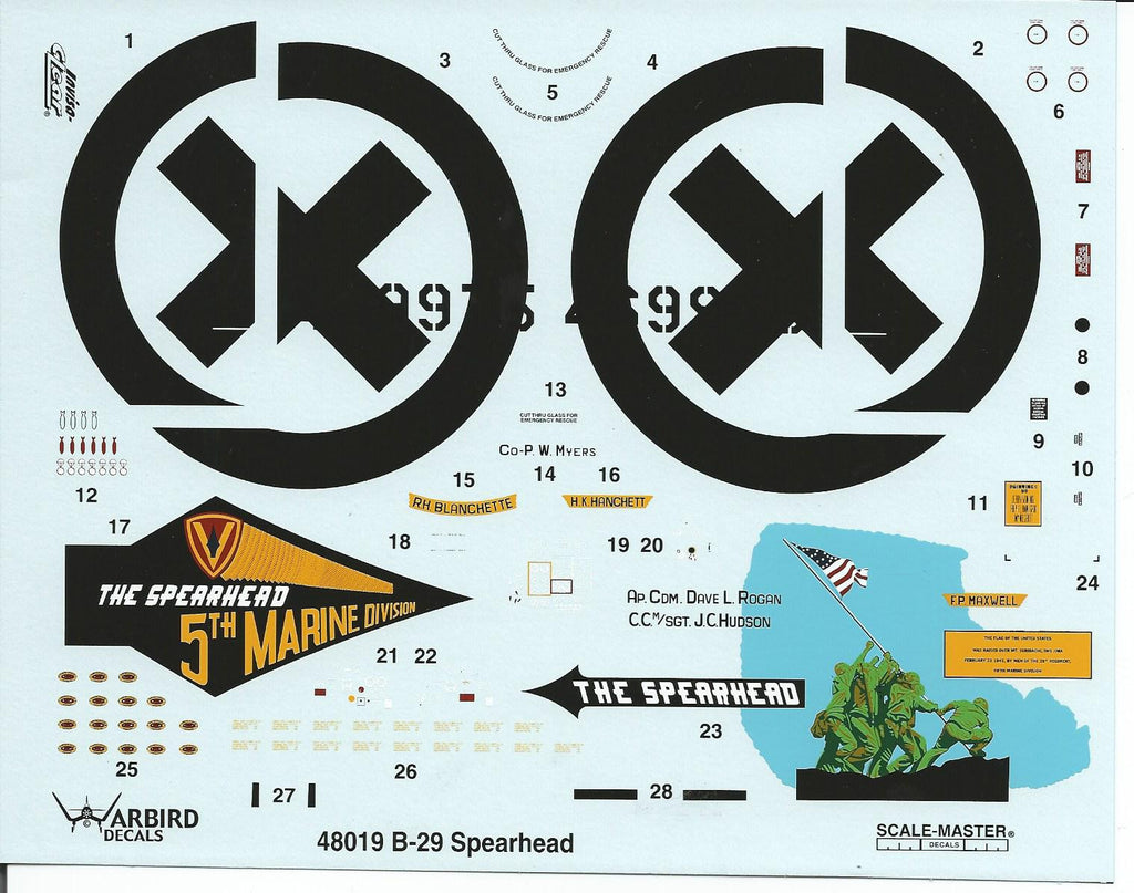 Warbird B-29A Superfortress Decals 1/48 The Spearhead WBD 48 019