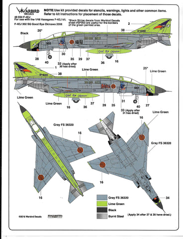 Colorful, Japanese F-4EJ Phantom Decals 1/48 034 7 Options