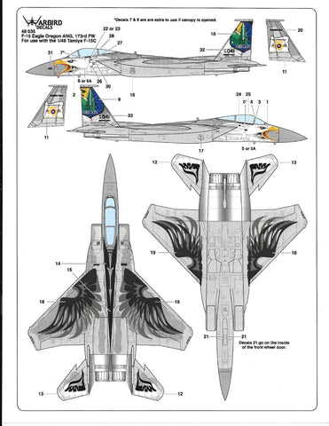 F-15C Eagle, Oregon ANG, 173rd FW, Commemorative Scheme Decals 1/48 035