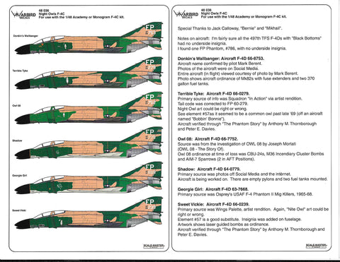 F-4 C/D Phantom, 497th TFS, 'Nite Owls' Decals 1/48 036
