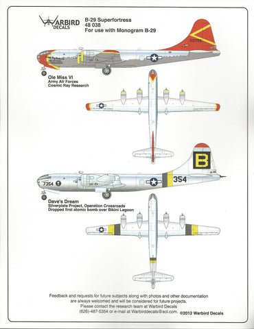 Colorful B-29 Superfortress Decals 1/48 Cosmic Research, Dave's Dream WBD 48 038