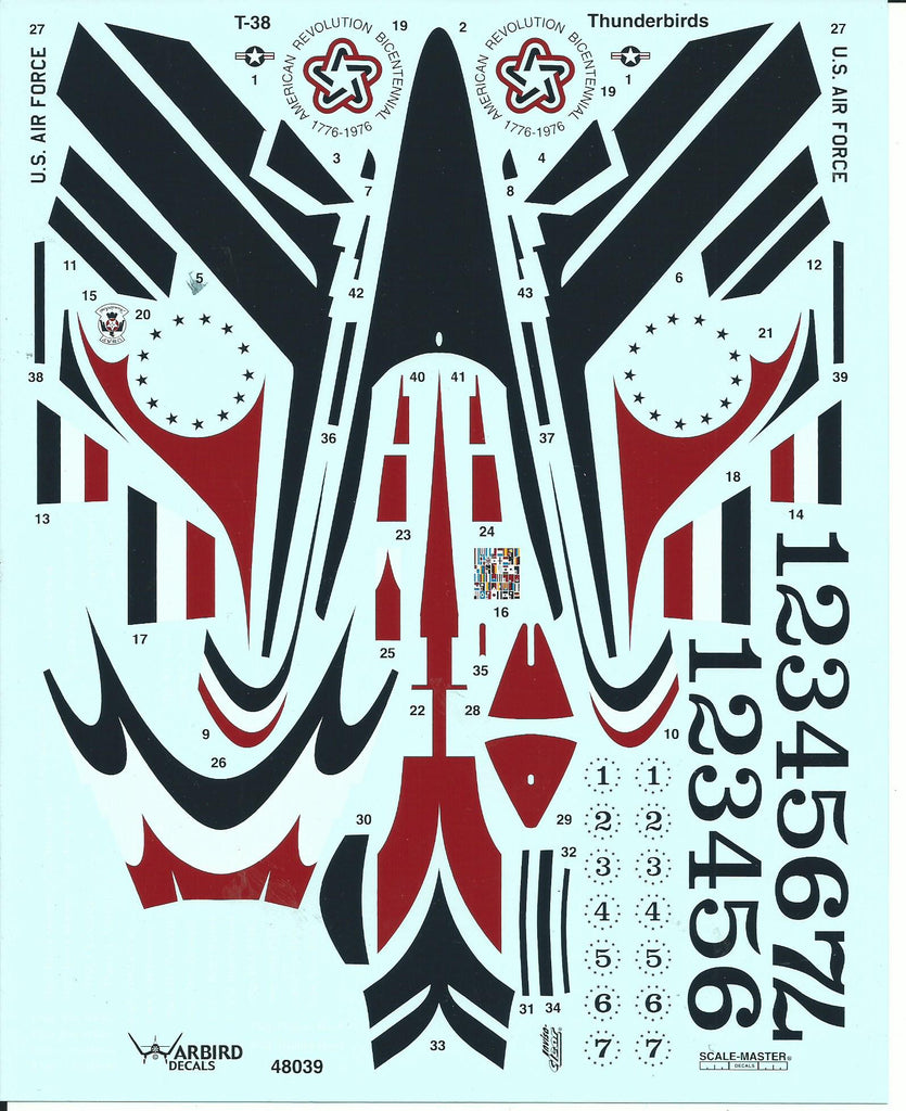 USAF Thunderbirds T-38 Talon Decals 1/48 039 For the Trumpeter Kit, 1974 Team