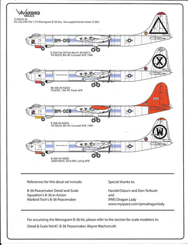 B-36A, RB-36E, B-36B, B-36D Peacemaker Decals 1/72 002