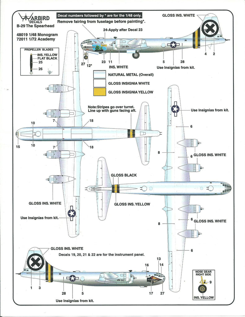 B-29A Superfortress Decals 1/72 The Spearhead WBD72011