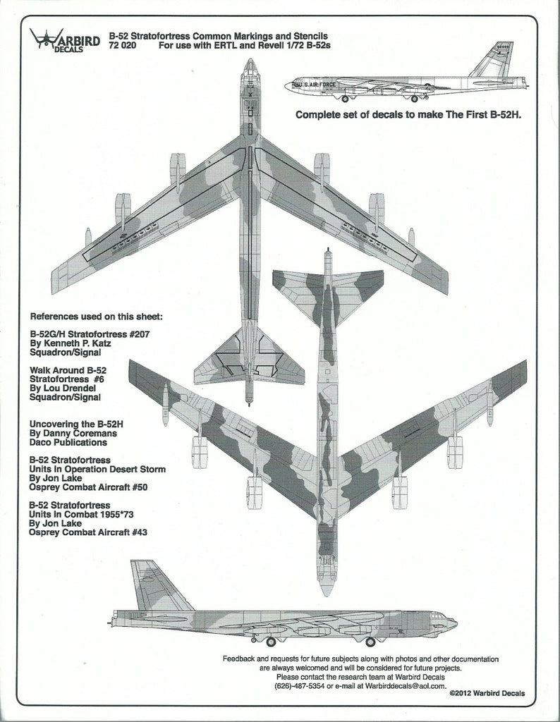 B-52H and B-52 Stratofortress Common Stencils, Data Decals 1/72 WBD 72 020
