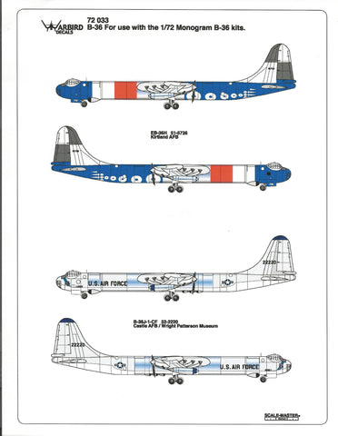 B-36 Peacemaker, EB-36H, Kirkland AFB, Castle AFB, Wright Patterson Museum Decals 1/72 033