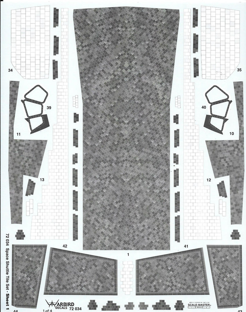 Warbird Decals, Space Shuttle Tile Decals, Details 1/72 034 For Monogram Kit