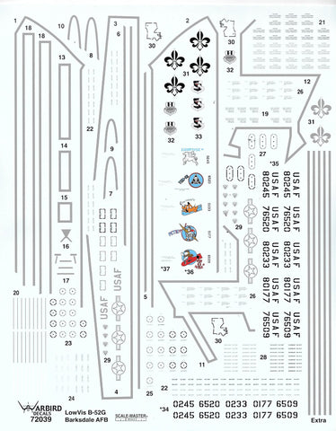 B-52G Stratofortress Low Viz Common Stencils, Data, and Walkway Decals in 1/72, 5 Aircraft Options Added 039