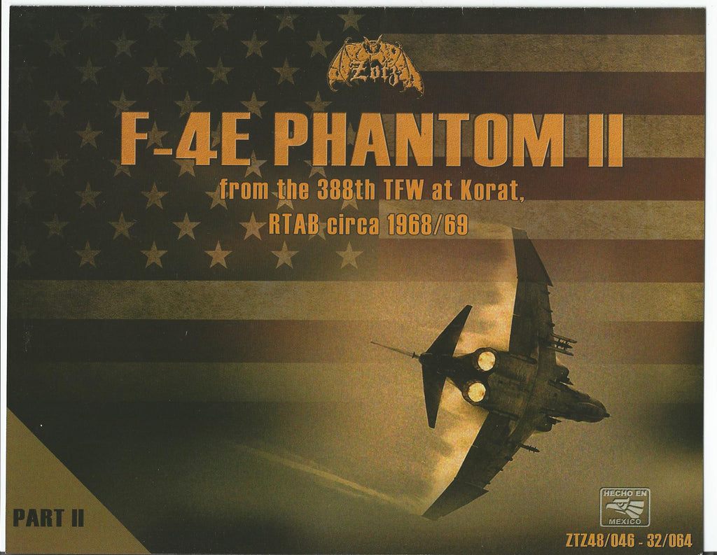 Zotz  F-4E Phantom II, 388th TFW at Korat, 1968-69 Decals 1/32 064, 10 Options