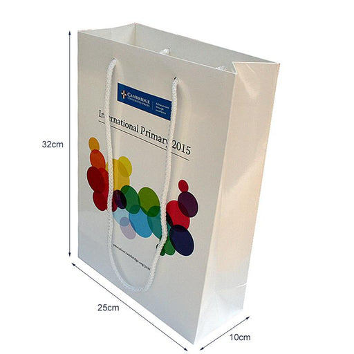 Gloss Lam A4 Rope Handle Bags 25 x 10 x 32cm Full colour, which are made to order and branded with your details.