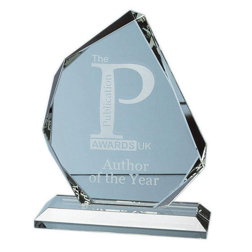 15cm x 15mm Jade Glass Facetted Ice Peak Award