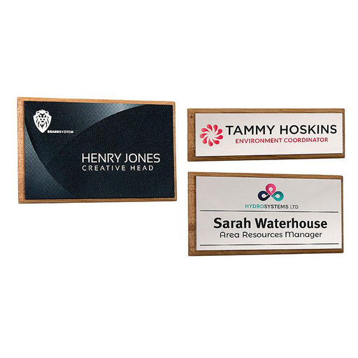 Real Wood Framed Name Badges