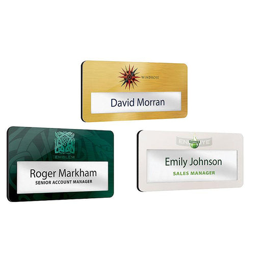 Metal faced reusable name window badges