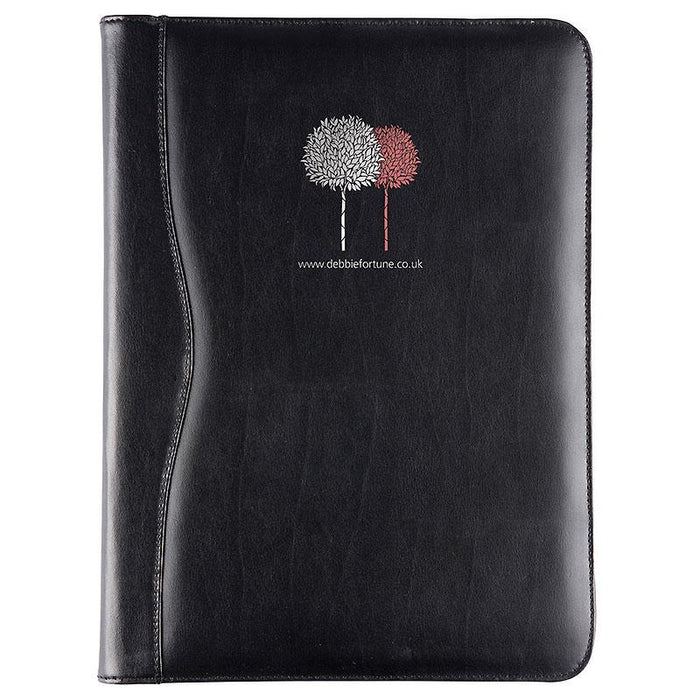 Black Balmoral Leather A4 Zipped Conference Folder