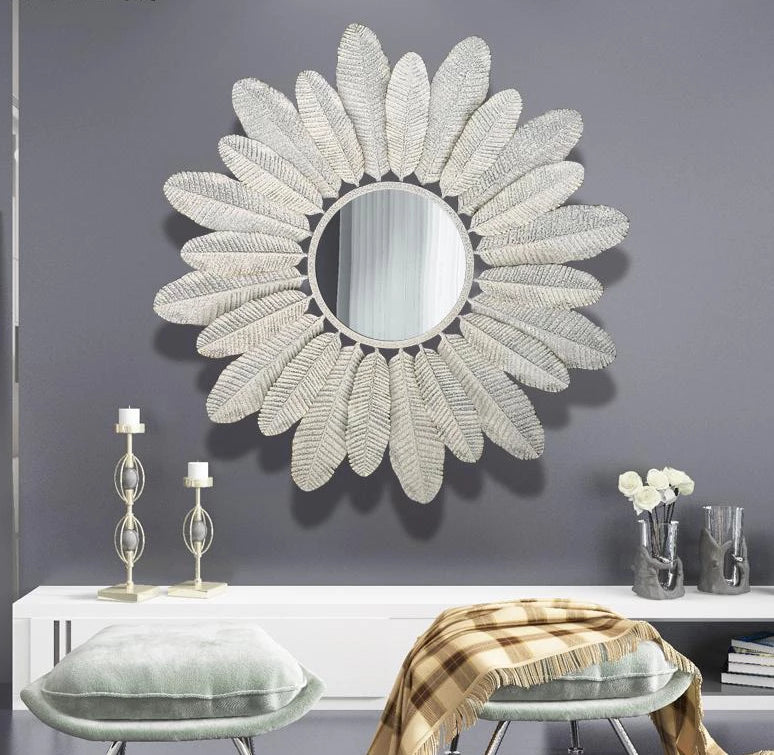 Beautiful white, metal decorative flower mirror