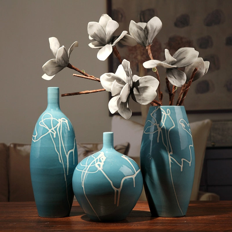 Three Creative Abstract Modern Blue Ceramic Vases with Cream Squiggle Lines
