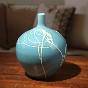 Creative Abstract Modern Blue Ceramic Vases with Cream Squiggle Lines