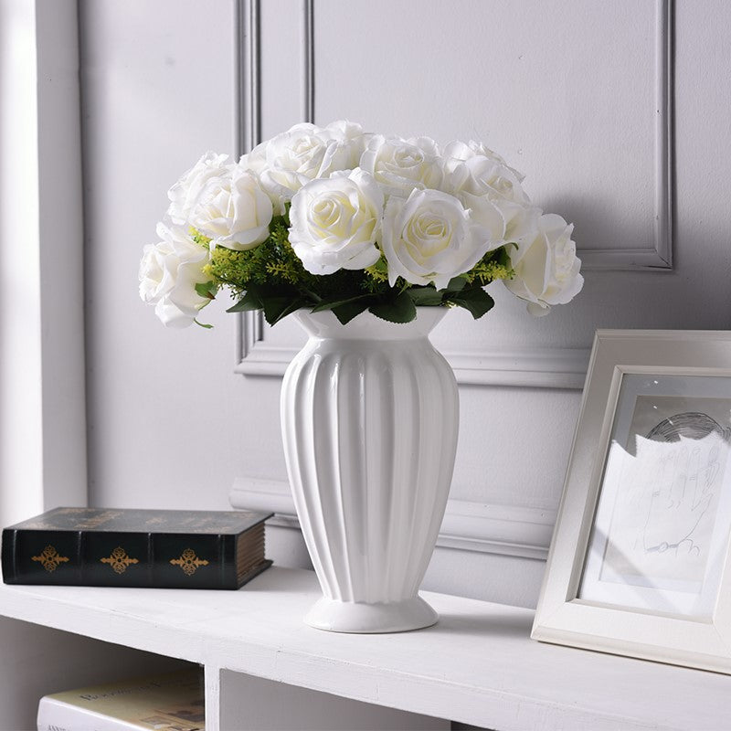 Minimalistic white modern European big vase with white flowers