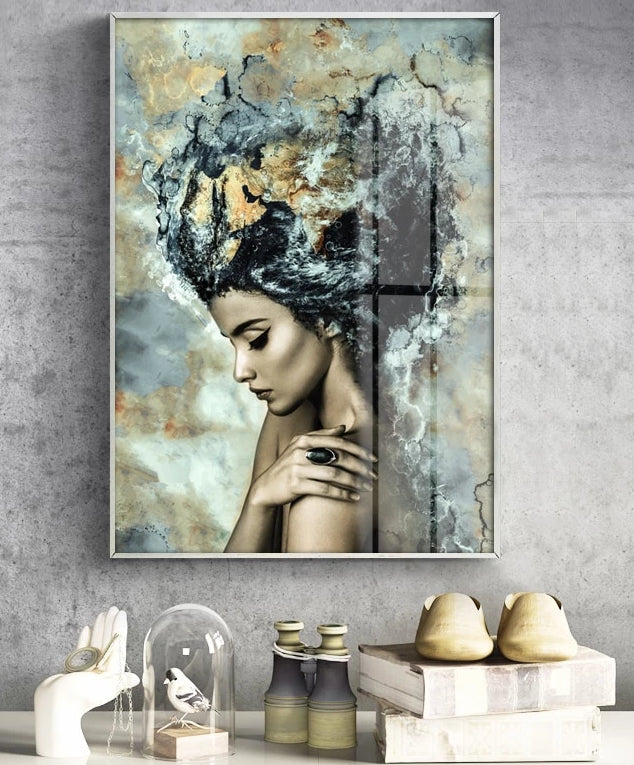 Exotic Female Marble Wall Art Canvas Print