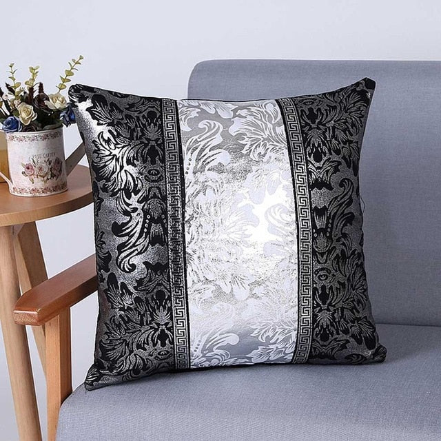 Classy black and silver floral vintage cotton canvas cushion cover