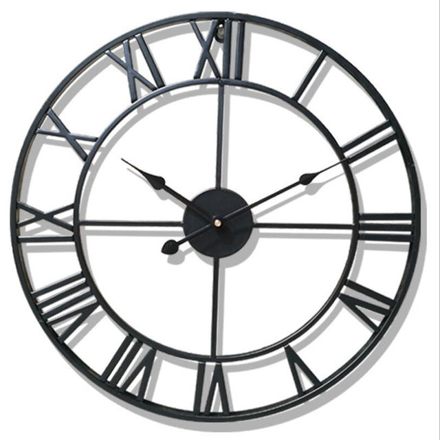 Black wrought iron vintage wall clock