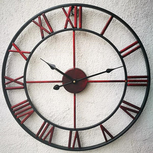 Red wrought iron vintage wall clock