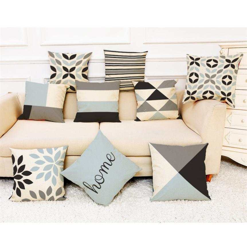 Geometric Throw Cushion Covers in Cool Tones