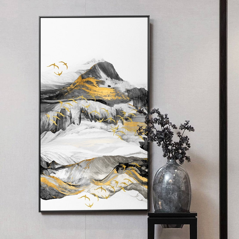Gold and Black Modern Abstract Chinese Style Foggy Mountain Forest Landscape with Birds Canvas Print