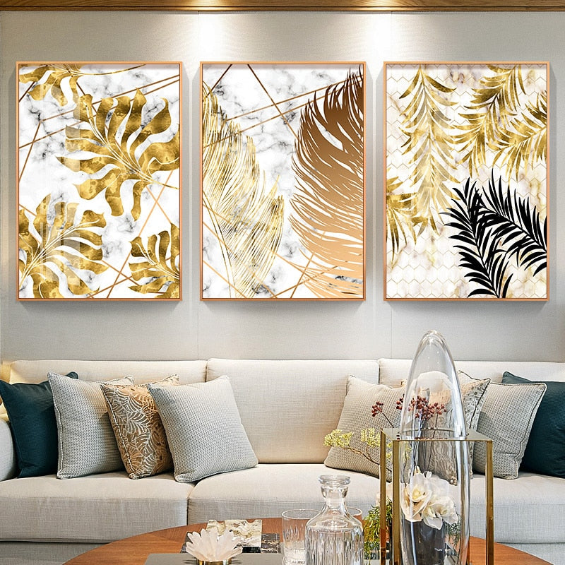 Nordic autumn coloured golden leaf canvas prints set