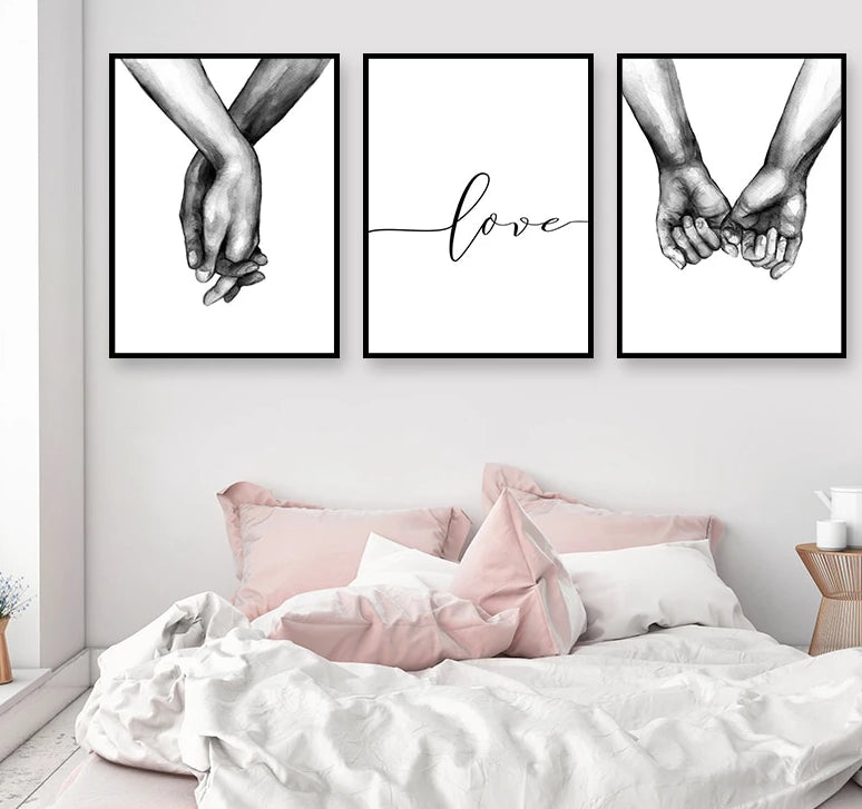 Black and white love sketched hands holding artwork canvas prints set
