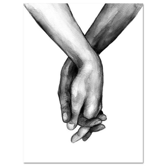 Black and white sketched hands holding artwork canvas print