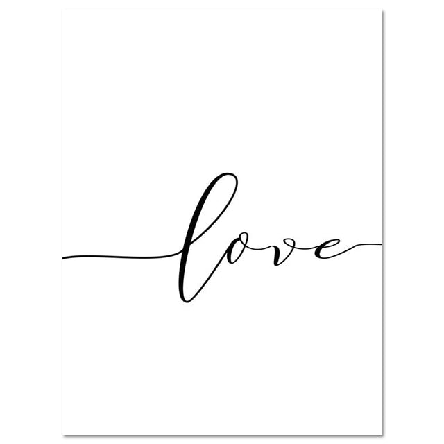 Black and white love artwork canvas prints set