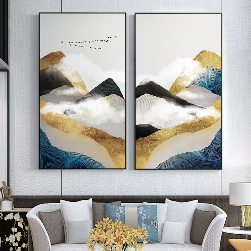 Two yellow, white and blue mountain painting print artwork decoration