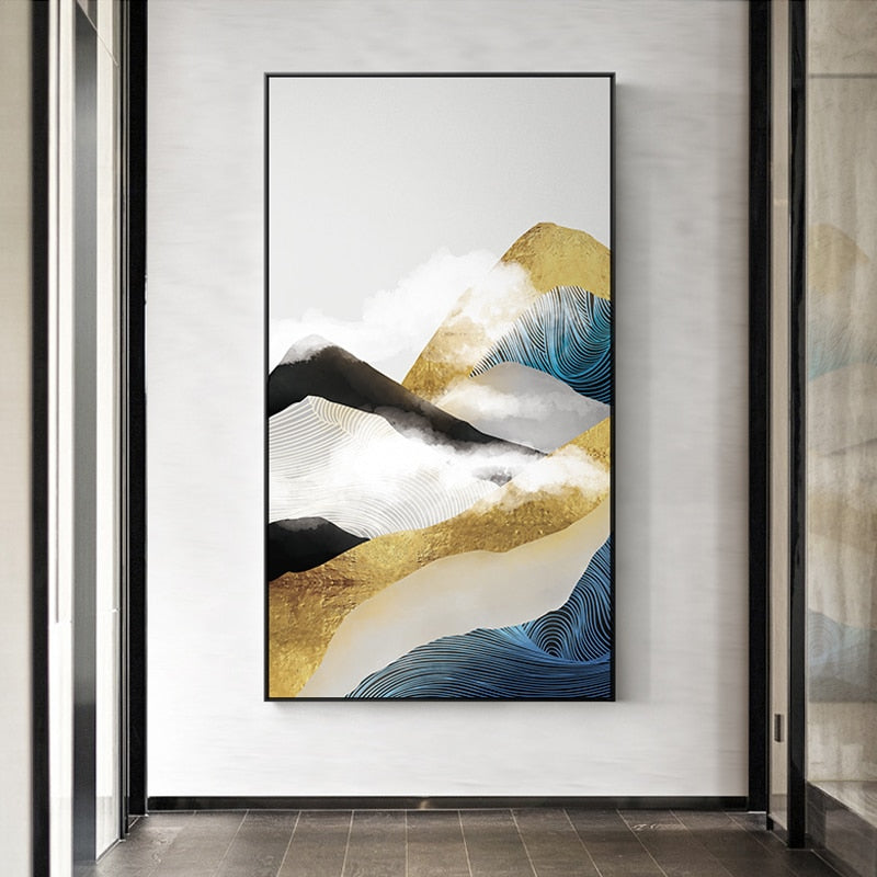 Yellow, white and blue mountain painting print artwork decoration