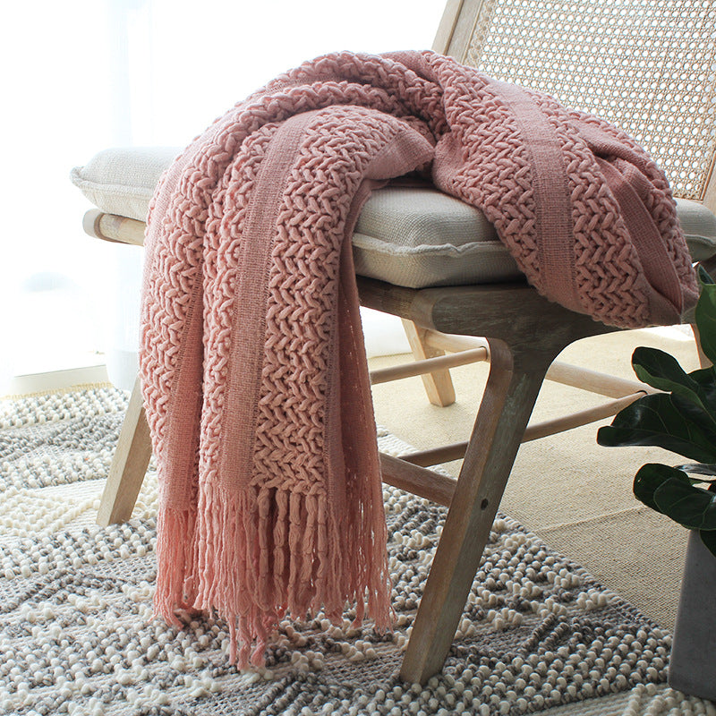 Soft pink knitted tassel acrylic throw blanket