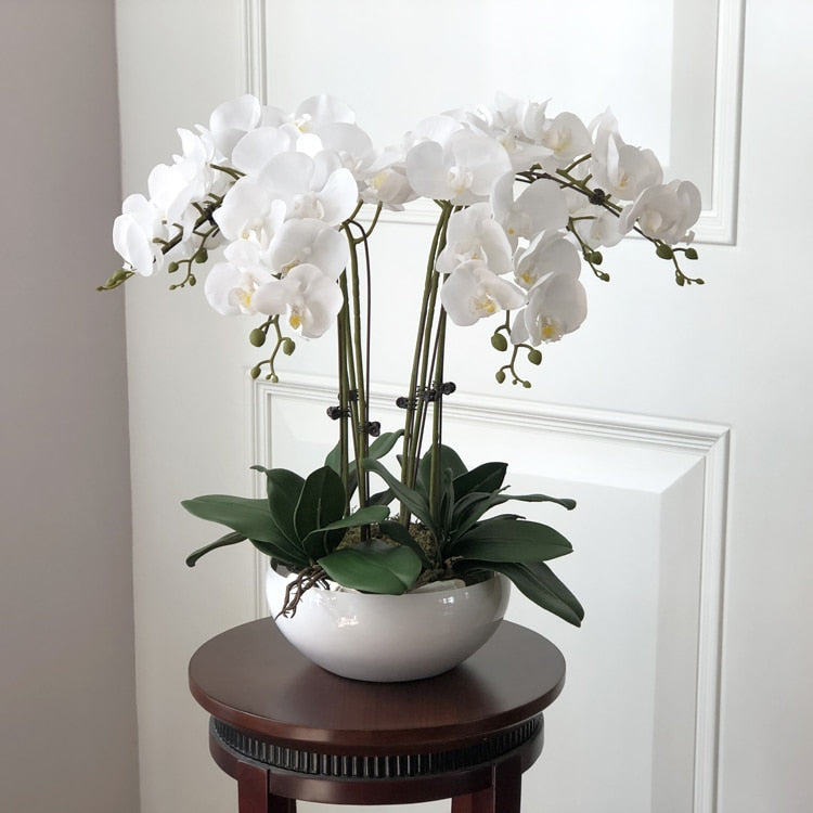 White High Quality Home Office Orchid Flower Arrangement Set