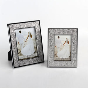two silver metal sparkly leather photo frame