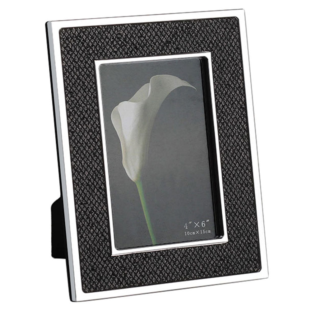silver metal black leather photo frame