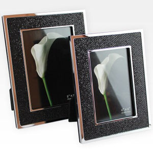 Two silver metal black leather photo frame
