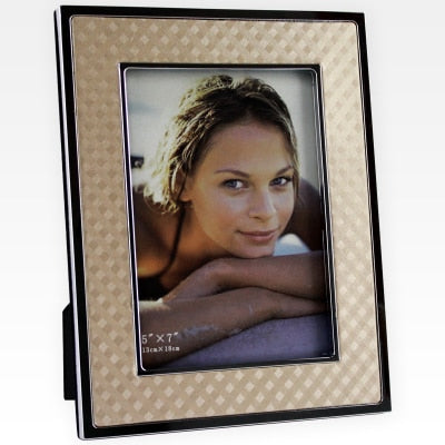 silver metal gold leather photo frame