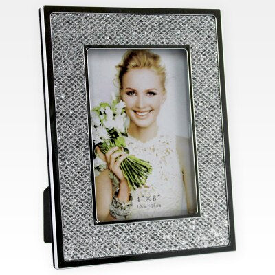 silver metal sparkly leather photo frame