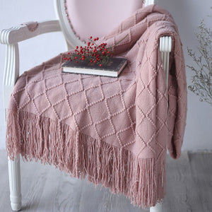 Diamond Geometric Sofa Throw Blanket with Tassels