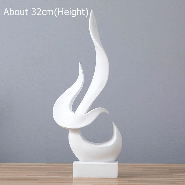 White polyresin creative fire flame sculpture
