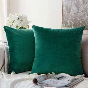 Soft green decorative velvet throw cushion covers