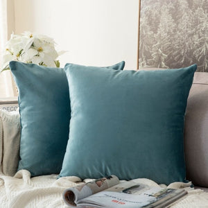 Soft emerald green decorative velvet throw cushion covers