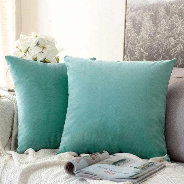 Soft turquoise decorative velvet throw cushion covers