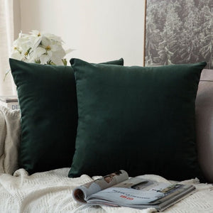 Soft dark green decorative velvet throw cushion covers