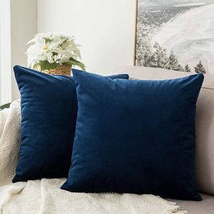 Soft dark blue decorative velvet throw cushion covers