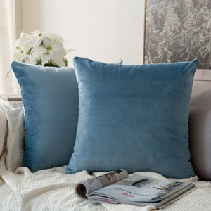 Soft blue decorative velvet throw cushion covers