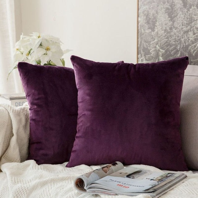 Soft plum decorative velvet throw cushion covers